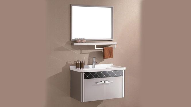 无指纹不锈钢浴室柜组合 洗手盆挂墙卫浴柜 卫生间漱洗柜盆800mm WSJ-823