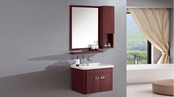 太空铝浴室柜组合挂墙式浴室柜洗脸盆洗手盆柜组合 镜柜洗漱台600mm WSJ-810