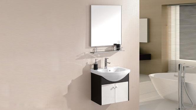 太空铝浴室柜 浴室柜 挂墙柜 陶瓷盆 面盆 洗手盆 洗脸盆600mm WSJ-813