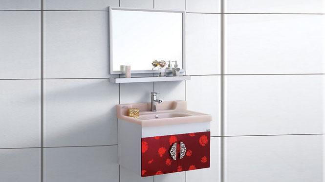 太空铝浴室柜组合 挂墙式防潮洗脸盆柜卫生间洗手盆柜组合700mm WSJ-872
