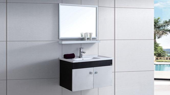 太空铝浴室柜组合 卫浴柜洗脸盆柜洗手盆柜 挂墙式800mm WSJ-861