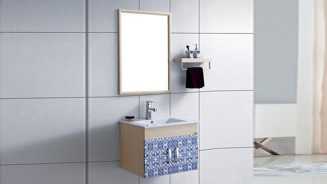 太空铝浴室柜组合挂墙式浴室柜洗脸盆洗手盆柜组合 镜柜洗漱台600mm WSJ-877