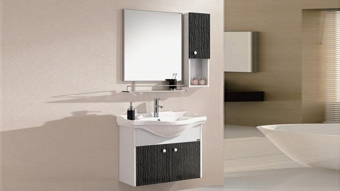 太空铝合金浴室柜 卫生间洗脸盆柜组合 陶瓷洗手盆柜 洗面台盆柜800mm WSJ-812
