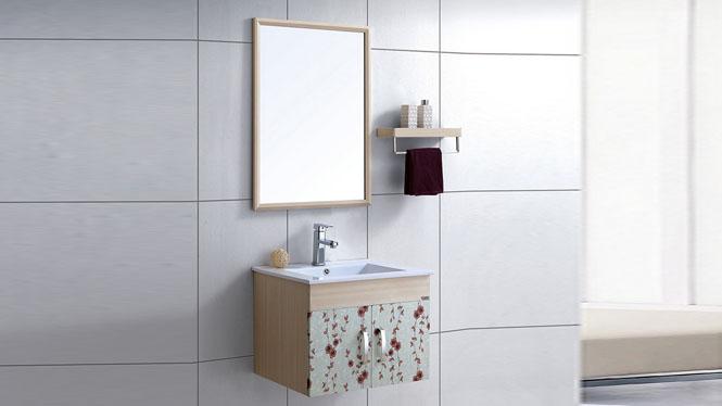 太空铝浴室柜吊柜洗手洗脸台盆 小卫生间简约挂墙卫浴柜组合600mm WSJ-879