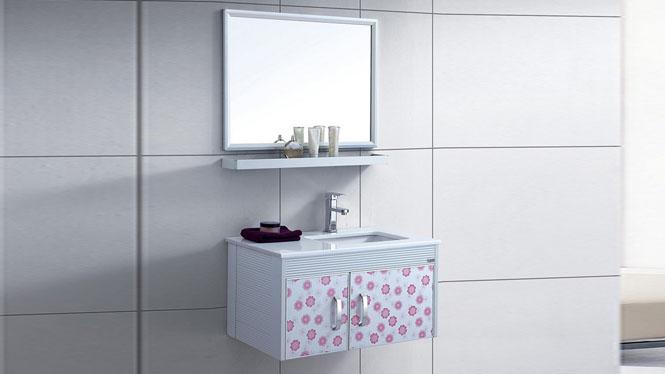 太空铝浴室柜组合 洗脸盆卫浴柜 卫生间漱洗吊柜台盆800mm WSJ-862
