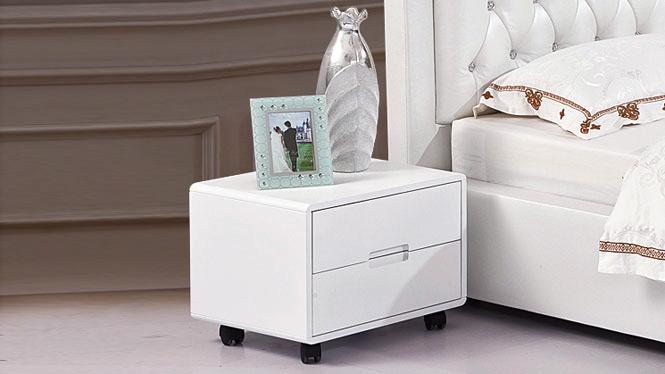 宜家简易床头柜简约白色实木床边柜韩式现代电话桌斗柜22#