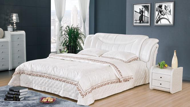 简约皮床 小户型真皮床 软体床双人床皮艺床 婚床1.8米软包床 床2939#