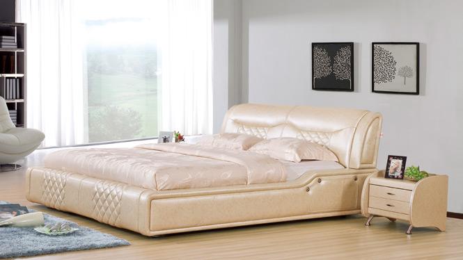 皮床 小户型双人床 头层真皮床 软床 床 皮艺床 1.8米婚床2933#