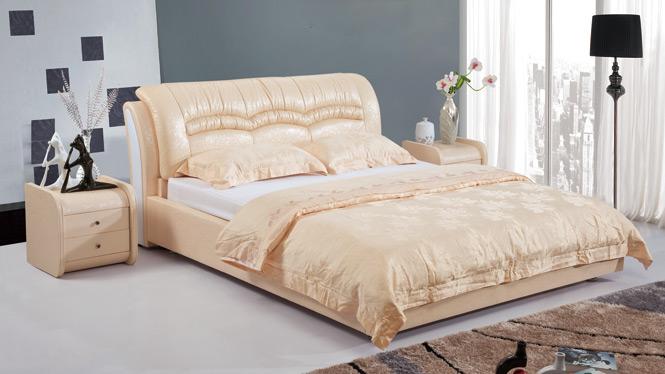 皮床真皮床 双人床 品牌榻榻米床储物床1.8米婚床软床皮艺床2918#