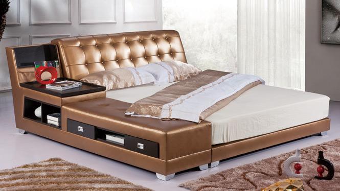 皮床小户型真皮床抽屉储物真皮床多功能高箱床1.8米双人床皮艺床2917#