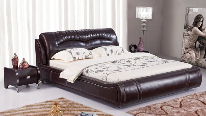 皮床 双人床 软包床 真皮床 榻榻米床 1.8米 婚床 皮艺床2916#