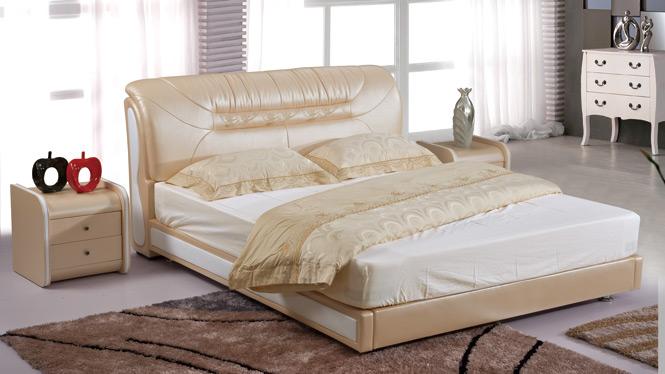 皮床 床 双人床 真皮床 软床软体床 1.8米婚床 储物床 皮艺床2915#