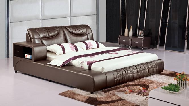 双人皮艺床现代简约小户型皮床气动高箱床软体床真皮床1.8米2913#
