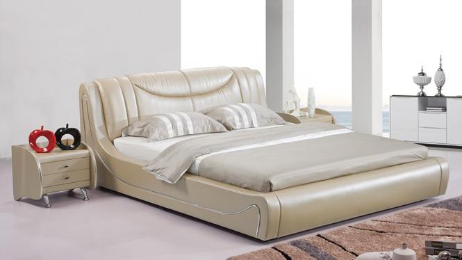 小户型皮床真皮床双人床1.8米高箱储物软体床皮艺床婚床2909#