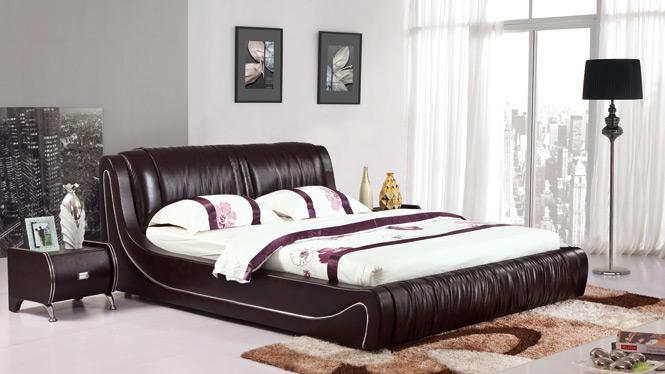 榻榻米床 皮床 真皮床 双人床1.8米婚床现代储物床皮艺床软床2903#