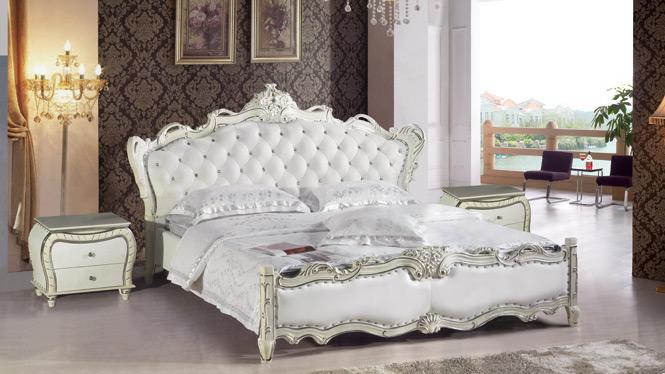 皮床 双人床软体床真皮床 双人床婚床皮艺床软床1.8米软包2810#
