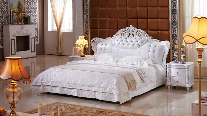 皮儿现代家具现真皮床单双人床皮床软床皮艺床1.8米婚床2339#