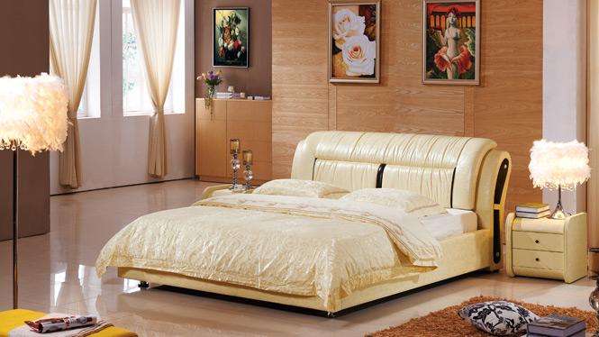 皮床结婚床皮艺软床双人床1.8米皮艺床软体床软包床软床大床2337#