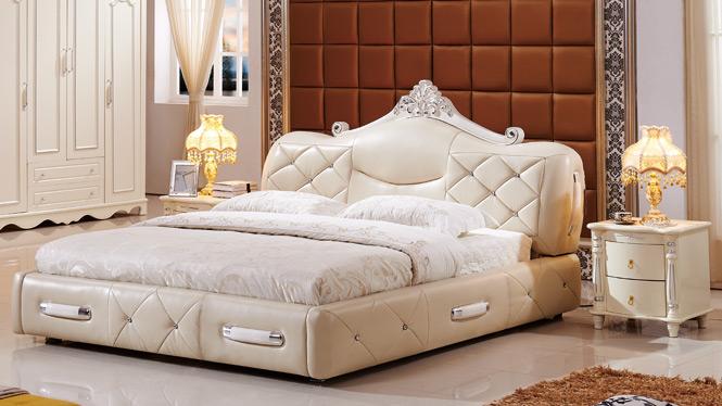 皮艺床 皮床 1.8米 双人床软体床公主床小户型储物床2336#