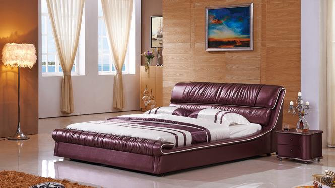 皮床皮艺床榻榻米床 双人床1.8米婚床真皮床软床多功能储物软包床2330#