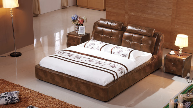 皮床真皮床双人床储物气动床1.8米婚床软体床小户型皮艺床2329#