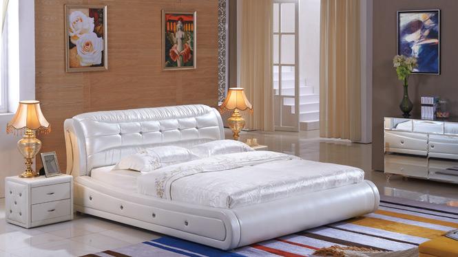 简约现代皮艺床箱体储物床双人床气动皮1.8m床婚床卧室家具2328#