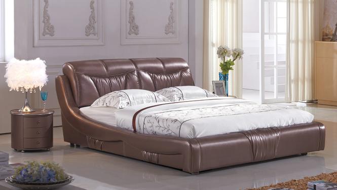 皮床 床 双人床 真皮床 软床软体床 1.8米婚床 储物床 皮艺床2327#