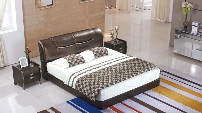 皮床 双人床 软包床 真皮床 榻榻米床 1.8米 婚床 皮艺床2326#