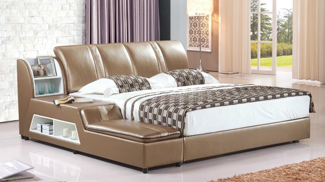 皮床 真皮软体床 1.8米双人婚床 简约现代小户型皮艺床 特价2325#