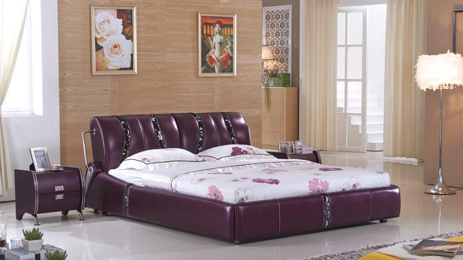 皮床皮艺床小户型真皮床 双人床婚床 榻榻米床1.8米家具2323#