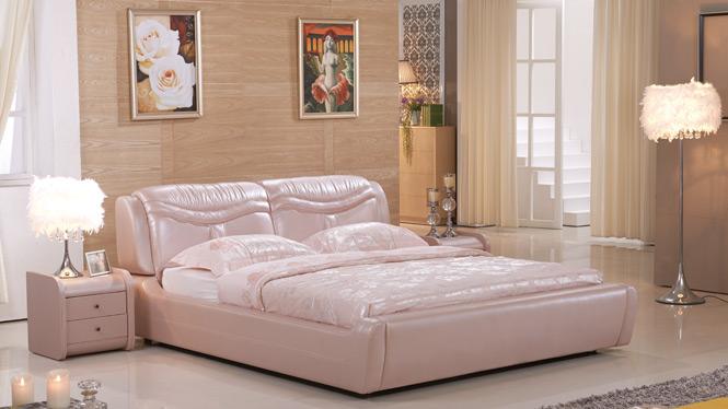 皮艺储物床 真皮床1.8米 简约现代皮床 双人床小户型软床2320#
