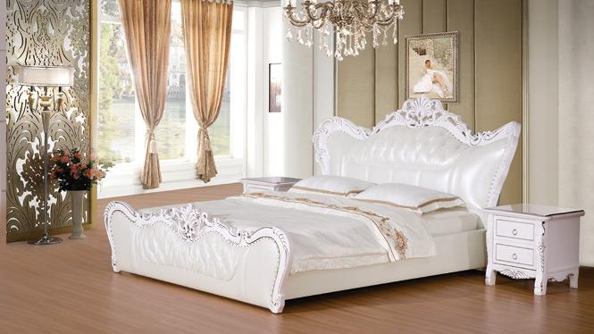 榻榻米床 皮床 真皮床 皮艺床 双人床1.8米 高箱气动储物软床婚床2316#