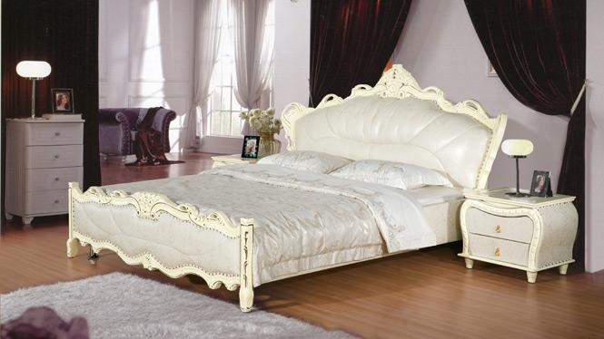 皮床榻榻米床真皮床1.8米双人床储物床现代软体床皮艺床婚床2313#