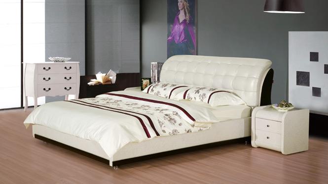 皮床 双人床软体床真皮床 双人床婚床皮艺床软床1.8米软包2311#