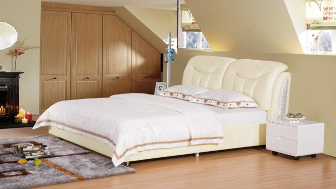 皮儿现代家具现真皮床单双人床皮床软床皮艺床1.8米婚床2310#