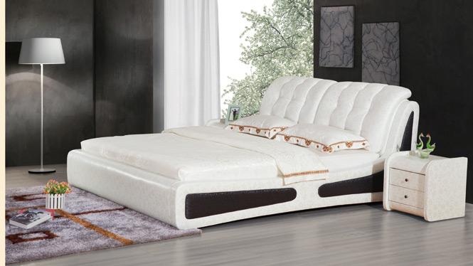 皮床 真皮床 双人床皮艺床现代小户型软床储物床婚床1.8米皮床2306#