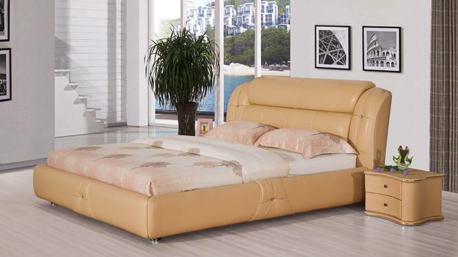 小户型真皮床皮艺床软体床抽屉储物皮床双人床1.8米皮床1315#
