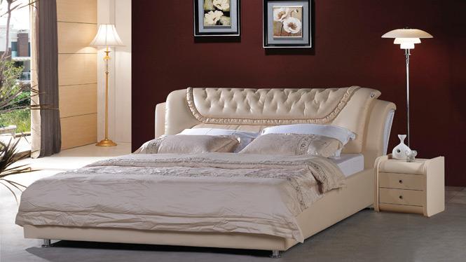 皮床 软体床真皮床双人床 皮艺床软床1.8米软包双人床婚床919#