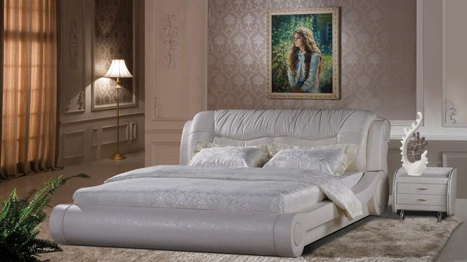 皮床 真皮软体床 1.8米双人婚床 简约现代小户型皮艺床910#