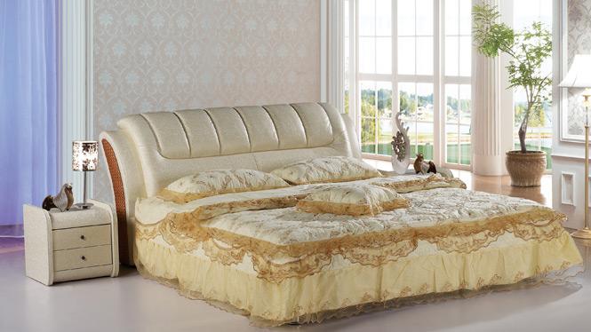 皮床皮艺床小户型真皮床 双人床婚床 榻榻米床1.8米家具908B#