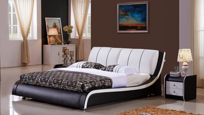 皮艺软床 小户型真皮软包床 现代皮床 真皮床 双人床 1.8米结婚床906#