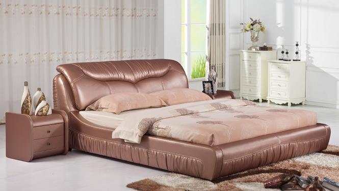 皮床 小户型双人床 头层真皮床 软床 床 皮艺床 1.8米婚床301#
