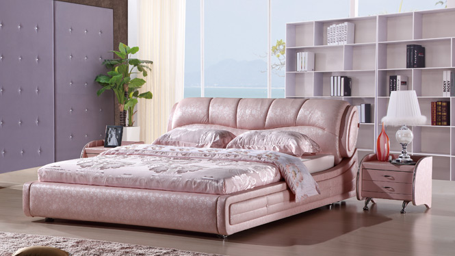现代榻榻米皮床真皮床 双人床 1.8米床 皮艺床软床带储物273#