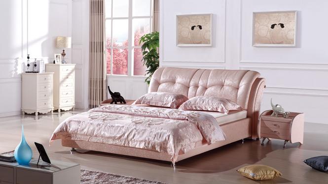 皮床皮艺床小户型真皮床 双人床婚床 榻榻米床1.8米家具270#
