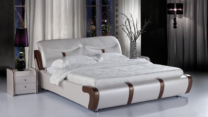 皮床 双人床软体床真皮床1.8米 双人床婚床皮艺床软床203#
