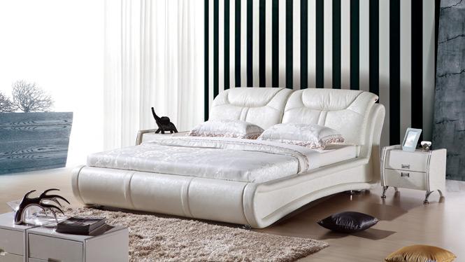 皮床真皮床双人床皮艺床1.8米现代简约软床储物床婚床榻榻米232#