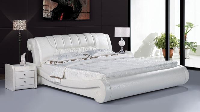 小户型皮床真皮床双人床1.8米高箱储物软体床皮艺床婚床212#