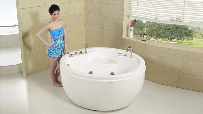 现代简约 圆形休闲按摩浴缸 亚克力浴缸 嵌入式浴缸 普通浴缸 HG-1049