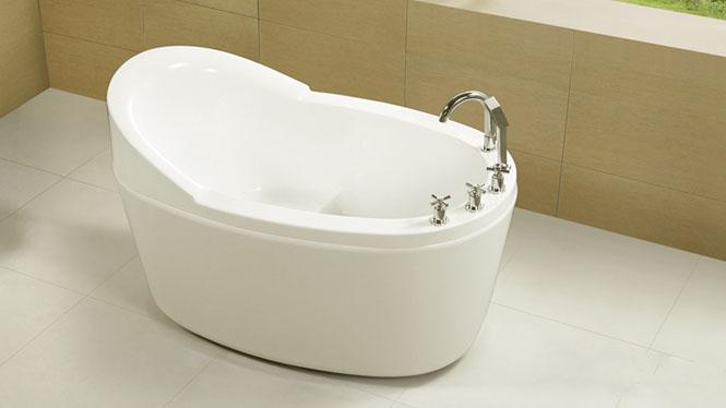 高靠背亚克力浴缸 独立式浴缸 椭圆形单人浴缸HG-1022