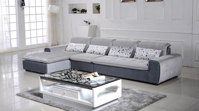 现代简约 大小户型客厅转角皮布沙发 可拆洗布艺沙发组合AF343